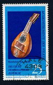 GERMANY - CIRCA 1971: Stamp printed in GDR showing Mandolin from Italy, It is musical Instrument from Music Museum in Markneukirchen, circa 1971