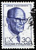 FINLAND , CIRCA 1980: Urho  kekkonen on Finish postage stamp, circa 1980