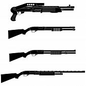 picture of shotguns  - Layered vector illustration of different Shotguns with white backgroud - JPG