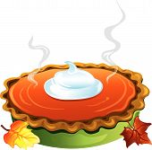 picture of pumpkin pie  - Illlustration of a hot homemade pumpkin pie with a dollop of whipped cream on top - JPG