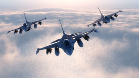 pic of fighter plane  - 3d render of fighter plane formation flying in the night - JPG