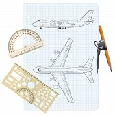 pic of protractor  - exercise book with a drawing for a model airplane with a protractor and compass - JPG