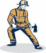 Fireman Firefighter Standing Holding Fire Axe