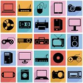 Collection flat icons with long shadow. Eectronic devices symbol