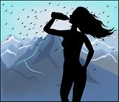 Silhouette Of A Woman Drinking Water On A Background Of Mountains
