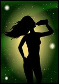 Silhouette Of A Woman Drinking Water On The Background The Beautiful Starry Sky