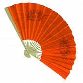 traditional Folding Fans with a flower. Vector illustration.