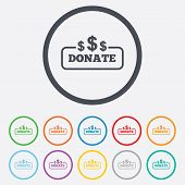 Donate sign icon. Dollar usd symbol.