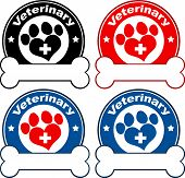 Veterinary Circle Labels Design With Love Paw Print,Cross And Bone Under Text. Collection Set