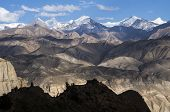pic of mustang  - Color gradients shadows and light on the areas of high altitude and mountain tops of Mustang - JPG