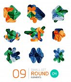 Collection of modern business infographic templates made of abstract geometric shapes. Option banners mega set