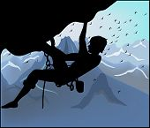 Silhouette Climber On Mountain Background