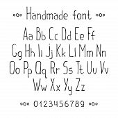 Simple monochrome hand drawn font. Complete abc alphabet set. Vector letters and numbers