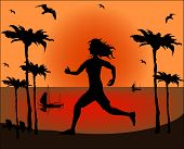 Silhouette Of A Running Athlete On The Background Of Sea Sunset