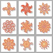 Vector Set of Ornamental Circles with Long Shadow