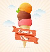 Vector summer Vintage Ice Cream Poster.