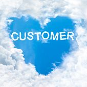 Customer Word On Blue Sky