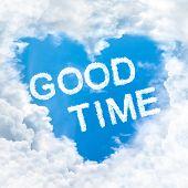 Good Time Word On Blue Sky