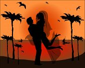 Silhouette Of Newlyweds On Background Of Sea Sunset