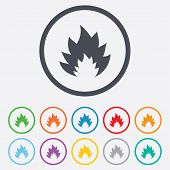 Fire flame sign icon. Heat symbol.