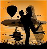 Silhouette Of Newlyweds On Background Of Sea Sunset And Flying Balloons