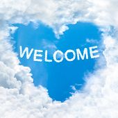 Welcome Word On Blue Sky