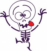Cute Halloween skeleton making funny faces