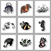 Vector Set of Sea Flora and Fauna with Long Shadow