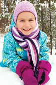 Winter, Forest - Lovely Girl Has A Fun In Snow