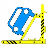 Device for lifting a car repair. Vector illustration.