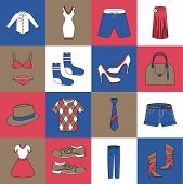 Clothes icons set flat line