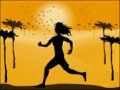 Silhouette Of Running Woman On The Background Of The Desert