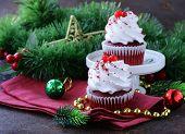 stock photo of red velvet cake  - festive red velvet cupcakes Christmas table setting - JPG