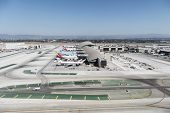 LOS ANGELES, CALIFORNIA - September 11, 2014:  Large planes lined up at the newly renovated Tom Brad