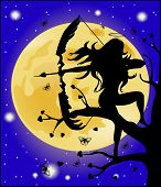 Silhouette Of An Angel With A Bow On A Background Of The Moon