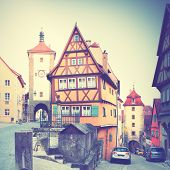 View of Rothenburg ob der Tauber in Bavaria, Germany. Instagram style filtred image