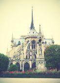 Back side of Notre Dame de Paris, France. Instagram style filtred image