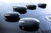 stock photo of stepping stones  - A row of shiny black pebbles in water - JPG