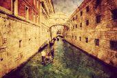 Venice, Italy. Bridge of Sighs and gondola. Vintage art, retro grunge canvas.