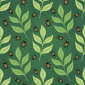 Seamless Ornate Floral Pattern with Beetles