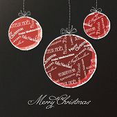 Christmas balls with multilingual greetings pattern. Vector