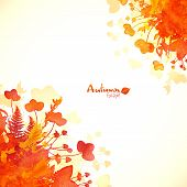 Orange autumn leaves watercolor painted background