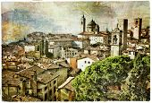 medieval cities of Italy - Bergamo, artwork in painting style
