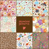 Set of eight colorful floral patterns