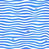 Blue stripes wavy simple background with little boats