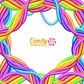 Rainbow colors candy ropes vector background