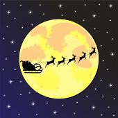 picture of sleigh ride  - santa claus rides on his sleigh at night - JPG