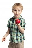 Boy With Apple Isolated