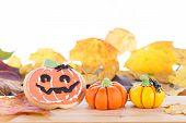 Halloween Arrangement With Cookie And Pumpkins