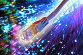 foto of flashing  - ethernet cable with fiber optic background - JPG